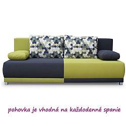 TEMPO KONDELA Pohovka rozkladacia, s úložným priestorom, sivá/zelená/vzor vankúše, SPIKER