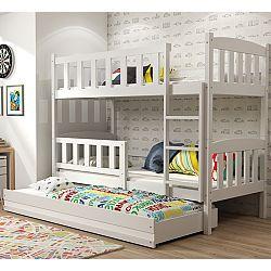 TEMPO KONDELA Poschodová drevená posteľ, sosna/biela, 80x185cm, ABEL 3 new