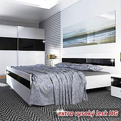 TEMPO KONDELA Posteľ 160x200, biela/čierny lesk HG, DEVON