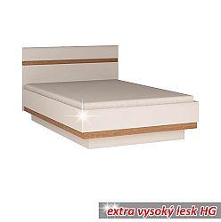 TEMPO KONDELA Posteľ, biela extra vysoký lesk HG/dub sonoma tmavý, 140x200 cm, LYNATET TYP 91