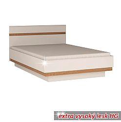 TEMPO KONDELA Posteľ, biela extra vysoký lesk HG/dub sonoma tmavý, 160x200 cm, LYNATET TYP 92