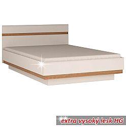 TEMPO KONDELA Posteľ, biela extra vysoký lesk HG/dub sonoma tmavý, 180x200 cm, LYNATET TYP 93