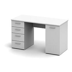 TEMPO KONDELA Praktický PC stôl vhodný pre študentov aj do kancelárií jedinečný hrúbkou vrchného plátu - až 22mm, biela, EUSTACH