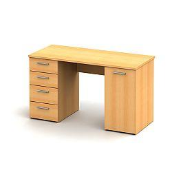 TEMPO KONDELA Praktický PC stôl vhodný pre študentov aj do kancelárií jedinečný hrúbkou vrchného plátu - až 22mm, buk, EUSTACH