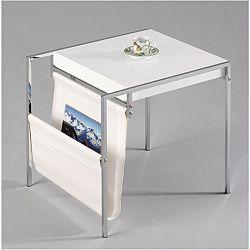 TEMPO KONDELA Príručný stolík so stojanom na noviny, ekokoža biela/biela/chróm, LIBRETTO