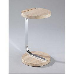 TEMPO KONDELA Príručný stolík so zárezom na tablet, MDF+chróm, dub sonoma, MILANA