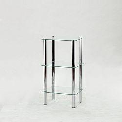 TEMPO KONDELA Regál, s troma poličkami, chróm + číre sklo, FREDDY