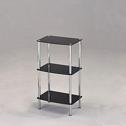 TEMPO KONDELA Regál, s tromi poličkami, chróm + čierne sklo, BORGIR