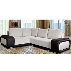 TEMPO KONDELA Rohová rozkladacia sedacia súprava s úložným priestorom, ľavé prevedenie, látka Cream + ekokoža čierna, SPARTA