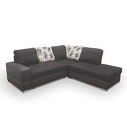 TEMPO KONDELA Rohová sedacia súprava, rozklad/úložný priestor, P, ekokoža čierna/šenil hugo čierny, MULAN NEW