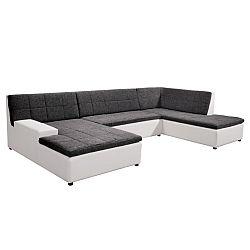 TEMPO KONDELA Rohová sedacia súprava v tvare U + taburet, L  prevedenie, ekokoža biela Madryt 120/ látka Inary 96 sivá, HOUSTON U