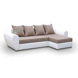 TEMPO KONDELA Rohová univerzálna sedacia súprava, rozklad/úložný priestor, berlin hnedý/ekokoža biela, ROMA