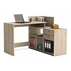 TEMPO KONDELA Rohový PC stôl, dub sonoma, VISTA PC STOL