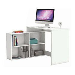 TEMPO KONDELA Rohový PC stolík, biela, KORNER