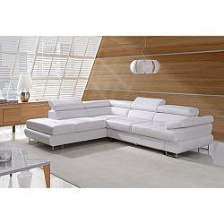 TEMPO KONDELA Rozkladacia rohová sedacia súprava s úložným priestorom, Ľ prevedenie, ekokoža biela, BUTON