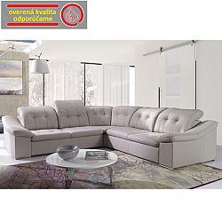 TEMPO KONDELA Rozkladacia rohová sedacia súprava s úložným priestorom, L prevedenie, ekokoža krémová, MAXVEL