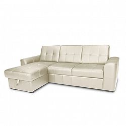 TEMPO KONDELA Rozkladacia rohová sedacia súprava s úložným priestorom, Ľ prevedenie, koža Advantage biela, TREK MALY ROH