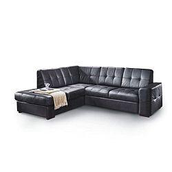 TEMPO KONDELA Rozkladacia rohová sedacia súprava s úložným priestorom, L prevedenie, koža YAK M6900 čierna, TREK VEĽKÝ ROH