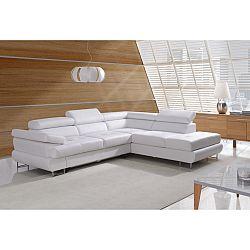TEMPO KONDELA Rozkladacia rohová sedacia súprava s úložným priestorom, P prevedenie, ekokoža biela, BUTON