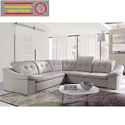 TEMPO KONDELA Rozkladacia rohová sedacia súprava s úložným priestorom, P prevedenie, ekokoža krémová, MAXVEL