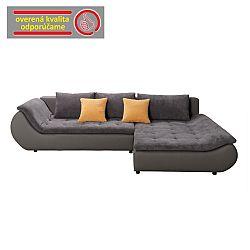 TEMPO KONDELA Rozkladacia rohová sedacia súprava s úložným priestorom, P prevedenie, ekokoža sivá/látka sivá, BRATO