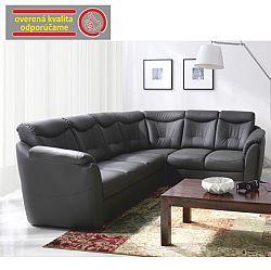 TEMPO KONDELA Rozkladacia rohová sedacia súprava s úložným priestorom, P prevedenie, ekokoža soft 6 čierna, MERLIN
