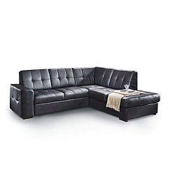 TEMPO KONDELA Rozkladacia rohová sedacia súprava s úložným priestorom, P prevedenie, koža Advantage čierna, TREK VEĽKÝ ROH