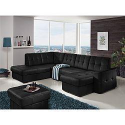 TEMPO KONDELA Rozkladacia rohová sedacia súprava v tvare U s úložným priestorom, L prevedenie, koža Advantage čierna, TREK SYSTÉM U