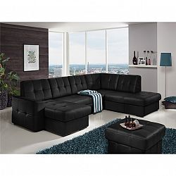 TEMPO KONDELA Rozkladacia rohová sedacia súprava v tvare U s úložným priestorom, P prevedenie, koža Advantage čierna, TREK SYSTÉM U