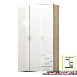 TEMPO KONDELA Skriňa, 3 - dverová, dub sonoma / biela extra vysoký lesk HG, GWEN 70427