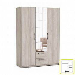 TEMPO KONDELA Skriňa, 3 - dverová s 2 zásuvkami, so zrkadlom, acacia, JUPITOR 384226