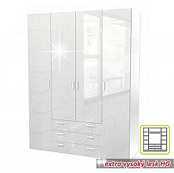 TEMPO KONDELA Skriňa, 4 - dverová, biela extra vysoký lesk HG, GWEN 70429