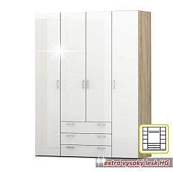TEMPO KONDELA Skriňa, 4 - dverová, dub sonoma / biela extra vysoký lesk HG, GWEN 70429