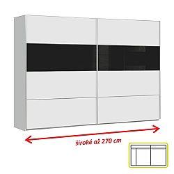 TEMPO KONDELA Skriňa DMRS12E2T11, biela / čierne sklo, DOMER