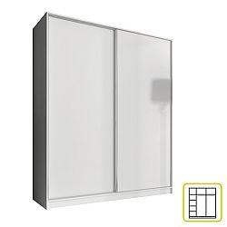 TEMPO KONDELA Skriňa dvojdverová kombinovaná, šírka 160 cm, biela, AVA