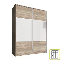 TEMPO KONDELA Skriňa dvojdverová kombinovaná, šírka 160 cm, dub sonoma/biela, AVA
