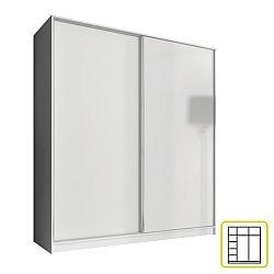 TEMPO KONDELA Skriňa dvojdverová kombinovaná, šírka 180 cm, biela, AVA