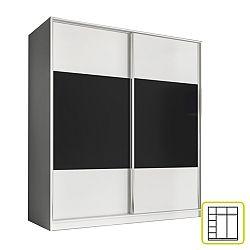 TEMPO KONDELA Skriňa dvojdverová kombinovaná, šírka 180 cm, biela/čierna, AVA