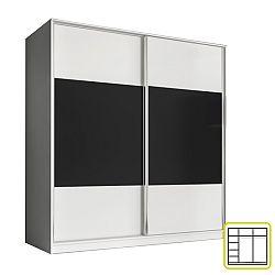 TEMPO KONDELA Skriňa dvojdverová kombinovaná, šírka: 200 cm, biela/čierna, AVA
