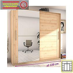 TEMPO KONDELA Skriňa dvojdverová kombinovaná so zrkadlom, šírka: 220 cm, buk iconic, ROMBO CO-32