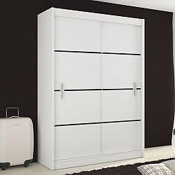 TEMPO KONDELA Skriňa s posúvnými dverami, biela/čierna, MERINA 150
