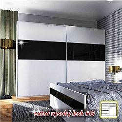 TEMPO KONDELA Skriňa s posúvnymi dverami, kombinovaná, biela/čierny lesk DEVON