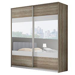 TEMPO KONDELA Skriňa so zrkadlom, 2m, dub sonoma trufel/sivá/zrkadlo, MADISON NEW