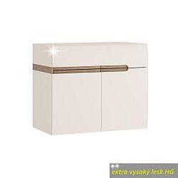 TEMPO KONDELA Skrinka s umývadlom, biela, extra vysoký lesk, LYNATET TYP 150