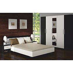 TEMPO KONDELA Spálňový komplet (skriňa+posteľ+2 nočné stolíky), čierna/biela, ALEXIS