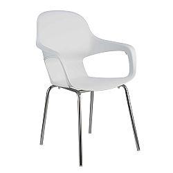 TEMPO KONDELA Stolička, chróm + plast, biela, DORIEN
