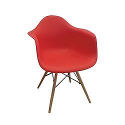 TEMPO KONDELA Stolička - kreslo, červená+buk, DAMEN