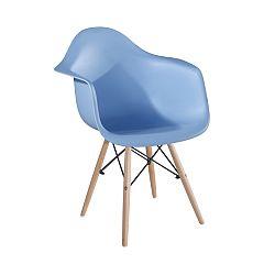 TEMPO KONDELA Stolička - kreslo, modrá+buk, DAMEN