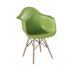 TEMPO KONDELA Stolička - kreslo, zelená+buk, DAMEN