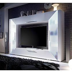 TEMPO KONDELA TV a media stena, DTD laminovaná, MDF s extra vysokým leskom, biela, EDGE
